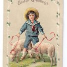 Easter Boy Sailor Suit Lambs Sheep EAS Embossed Vintage Postcard ca 1910