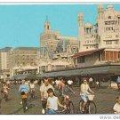Atlantic City NJ 1973 Boardwalk Riding Bicycles Pre Casino Hotels Postcard
