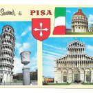 Italy Pisa Multiview Leaning Tower Baptistry Cathedral Stamps 4X6 Postcard