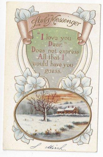 Valentine Postcard Loves Messenger Motto Cottage Scene Gold Embossed Vintage
