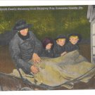 PA Lancaster County Amish Family Buggy Father Children Linen Postcard vintage