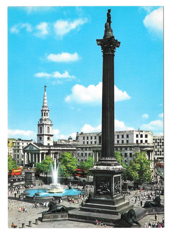 UK England London Trafalgar Square Nelsons Column Hinde Postcard Vtg 4X6