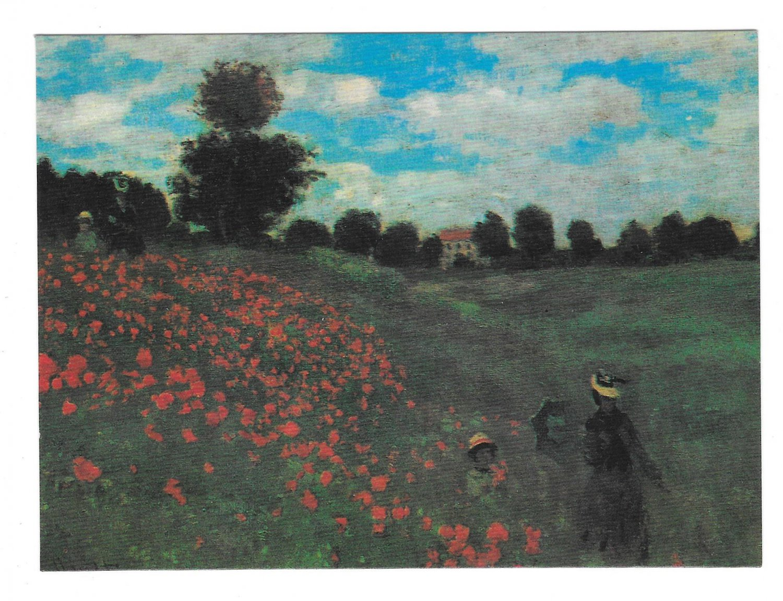 Monet Field of Poppies Impressionist Painting Vintage 4X6 Art Postcard