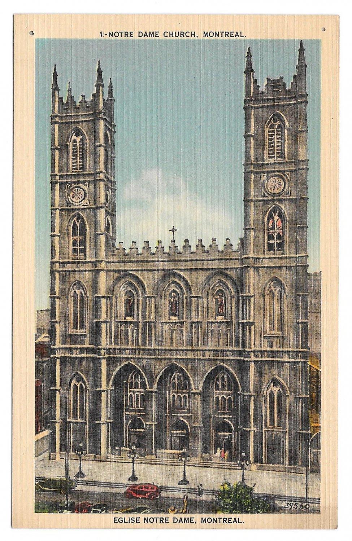 Canada Montreal Quebec Church Notre Dame Cathedral Vtg Linen Postcard