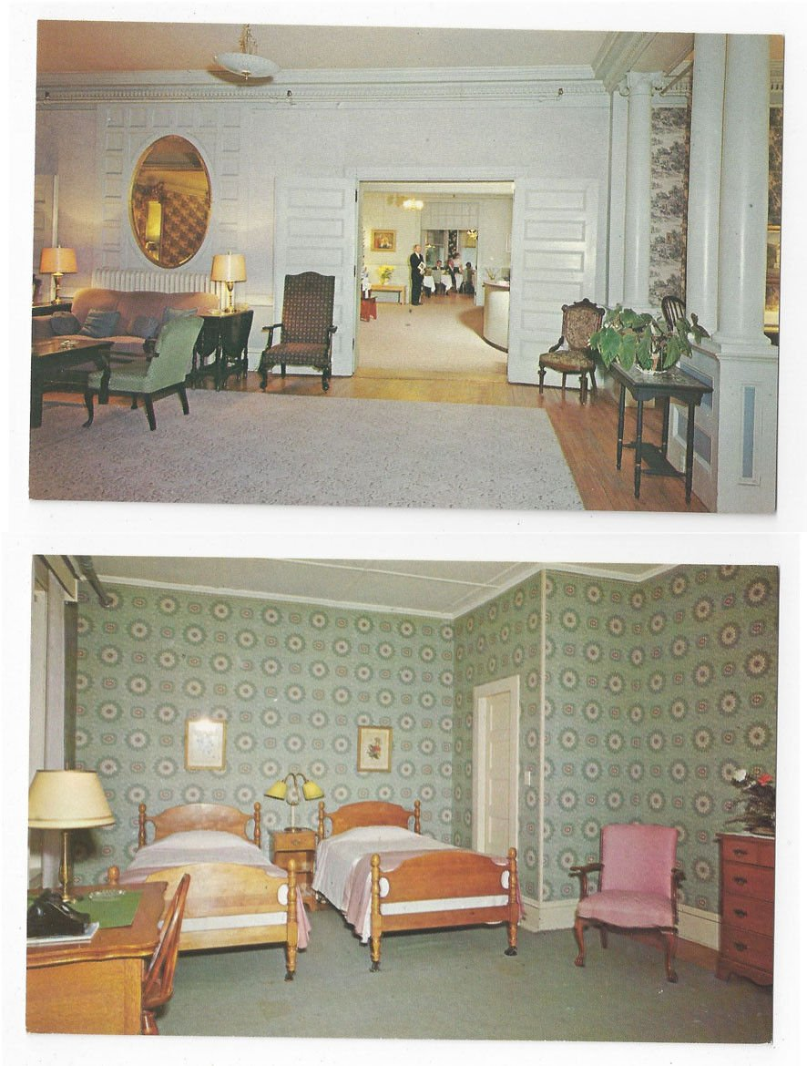 2 VT Brandon Inn Vermont Interiors Bedroom Lobby Lounge Vintage Postcards