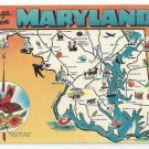 Maryland Map Greetings Landmarks State Bird Flower Vtg 1950s MD Postcard