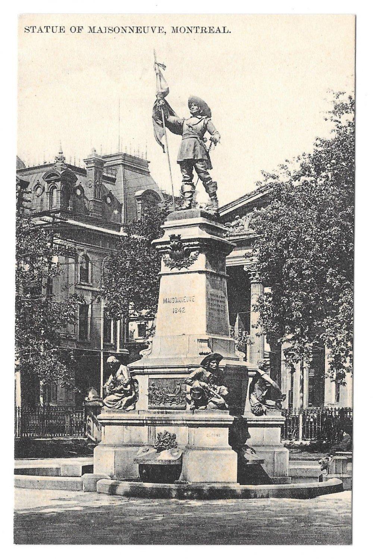 Montreal Canada Statue of Maisonneuve Place D'Armes Monument Vtg Postcard
