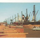 DE Wilmington Marine Terminal Delaware Ship Wharf Lumber Cranes Vtg Postcard