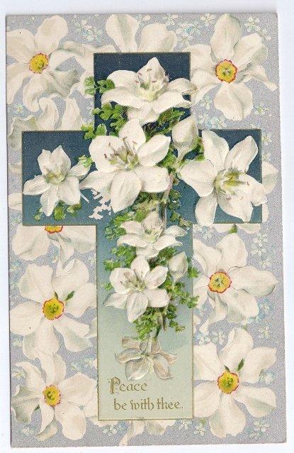 Silver Embossed Easter Postcard Cross Narcissuss ca 1910 Vintage Printed in Germany