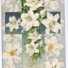 Silver Embossed Easter Postcard Cross Narcissuss ca 1910 Vintage Printed in Germany