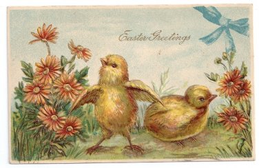 Vintage Easter Postcard Chicks and Flowers Gold Embossed ca 1910 Printed Germany