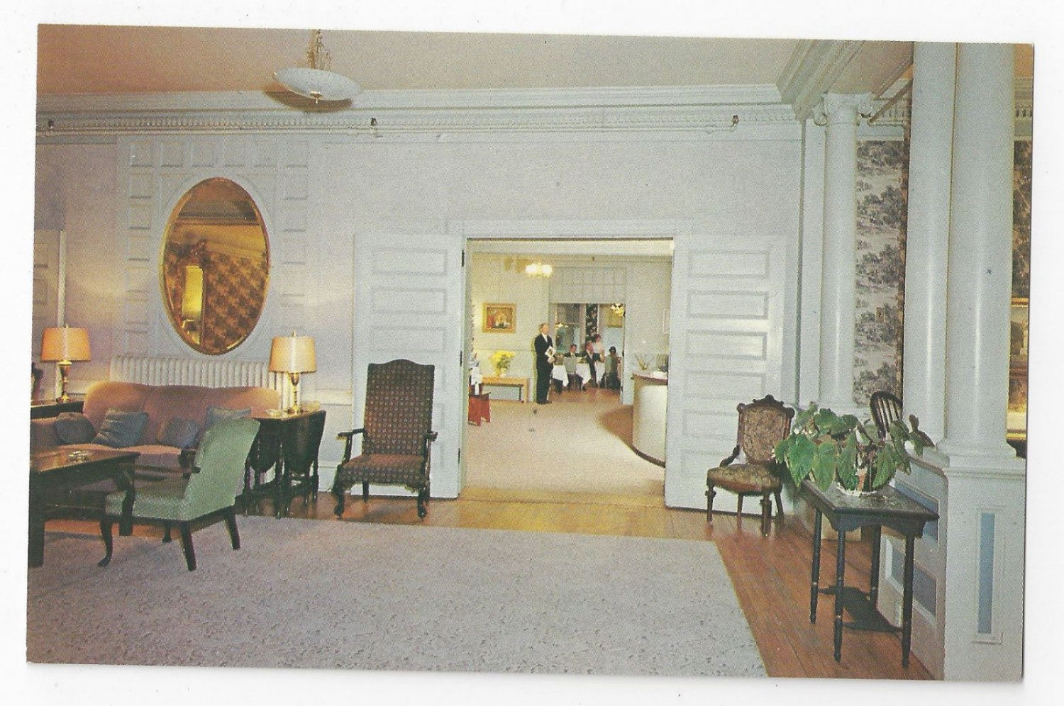 Brandon VT Inn Lobby and Lounge Interior Vermont Hotel Postcard