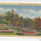 Newark NJ Branch Brook Park Flower Beds 1949 Vintage Linen Postcard