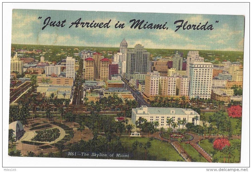 FL Miami Skyline Just Arrived Vintage 1955 Linen Postcard
