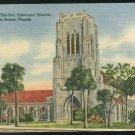FL Bethesda By-The-Sea Episcopal Church Palm Beach FLorida Vintage Tichnor Linen Postcard