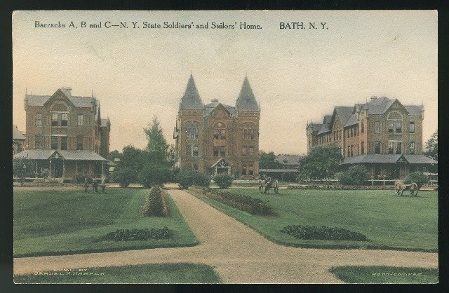 Barracks A B and C NY State Soldiers and Sailors Home Bath NY Albertype Postcard