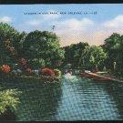 Lagoon in City Park New Orleans LA 1942 E.C. Kropp Vintage Linen Postcard