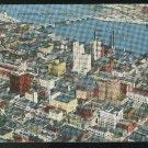 OH Aerial View Downtown Toledo Ohio 1945  E. C. Kropp Vintage Linen Postcard
