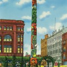 Seattle Washington Native American Totem Pole Pioneer Square 1951 Curteich Photochrom Postcard