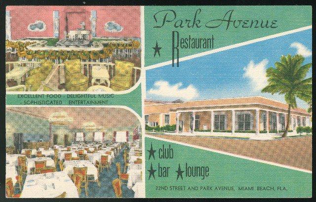 Park Avenue Restaurant Miami Beach Fla Multi view  MWM Litho Linen Unused Postcard