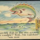 Comic Big Fish in the Sea I'm Catchin em now Fishing Humor Vintage Linen Postcard