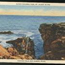 Thunder Hole Bar Harbor ME Acadia National Park Mt Desert Island Curteich Linen 1937 Postcard