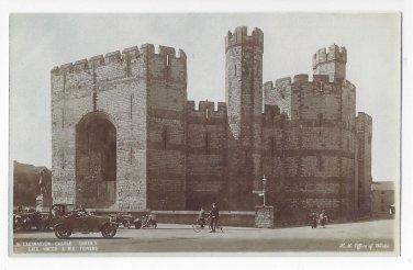 UK Wales Caernarvon Castle Queens Gate Towers HM Office of Works Blue TintedPostcard
