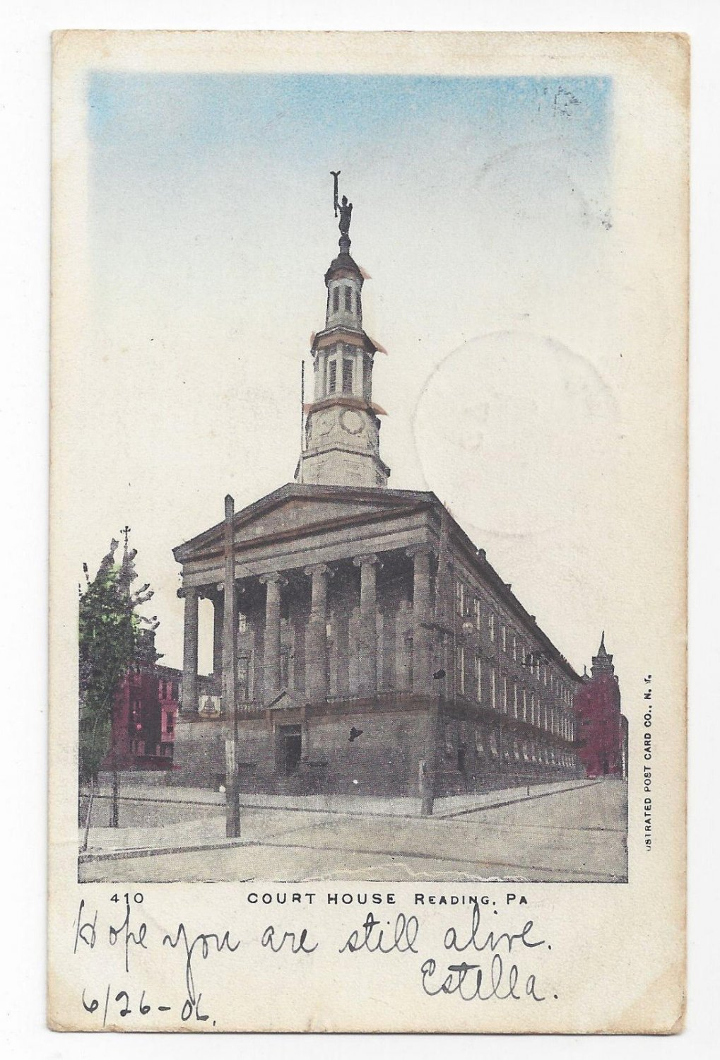 PA Reading Court House Vintage 1906 UDB Postcard Courthouse