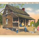 NC Typical Southern Cabin Home Everybody Works Vintage Linen Postcard