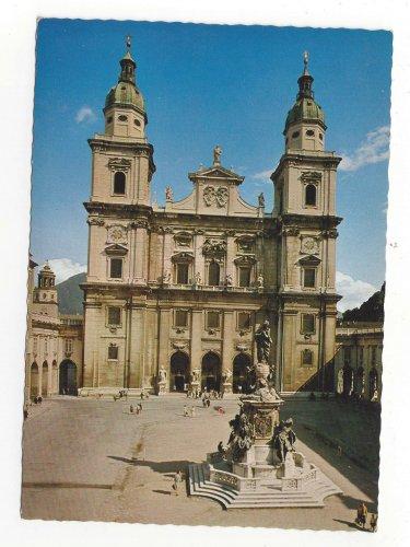 Austria Salzburg Cathedral Square Statue of Virgin Mary Der Dom Vintage Postcard 4X6