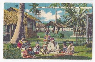 FL Everglades Seminole Indian Family Village 1953 Vintage Thermometer Linen Postcard