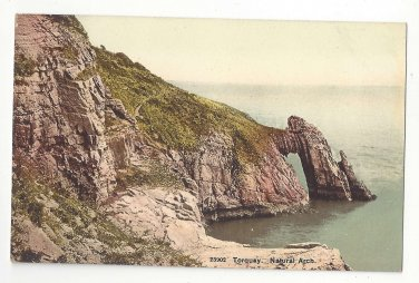 Devon UK Torquay Natural Arch Rock Formation Photochrom Vintage Postcard