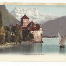 Switzerland Chateau Chillon Castle Dent du Midi Sailboat Vtg c1905 UDB Postcard