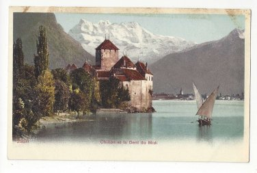 Switzerland Chateau Chillon Castle Dent du Midi Sailboat Vtg c1905 UDB Postcard