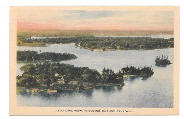 Canada Thousand Islands Ontario Aeroplane Aerial View Vintage Tinted PECO Postcard