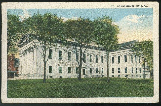 Court House Erie PA Vintage Curteich 1921 Postcard