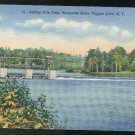 Setting Pole Dam Racquette River Tupper Lake NY Vintage 1941 Curteich unused Linen Postcard
