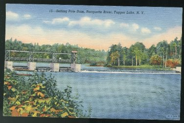 Setting Pole Dam Racquette River Tupper Lake NY Vintage 1941 Curteich unused Linen Postcard
