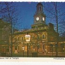 Philadelphia PA Independence Hall at Twilight Vintage 4X6 Postcard 1970's