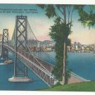 San Francisco CA Oakland Bay Bridge Skyline Vintage Linen Metrocraft Postcard