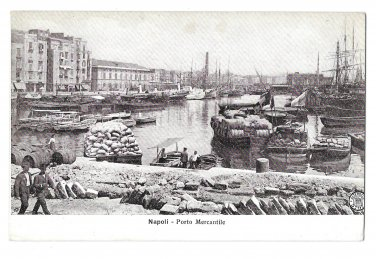 Naples Italy Napoli Porto Mercantile Harbor Boats Vintage Panorama Postcard
