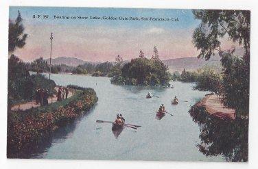 San Francisco Bay CA Golden Gate Park Boating Stow Lake Vntg Hand Tinted PNC Postcard SF 357