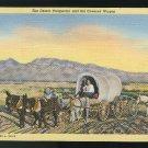 Desert Prospector Covered Wagon Tortilla Flat Postmark Linen Postcard 1941