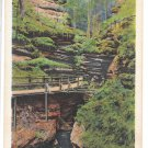 WI Wisconsin River Dells Witches Gulch Moss Hung Cliffs Vtg Linen 1935 Postcard