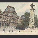France Paris Monument de Gambetta et le Louvre Lucien Levy Postcard Vintage c 1910
