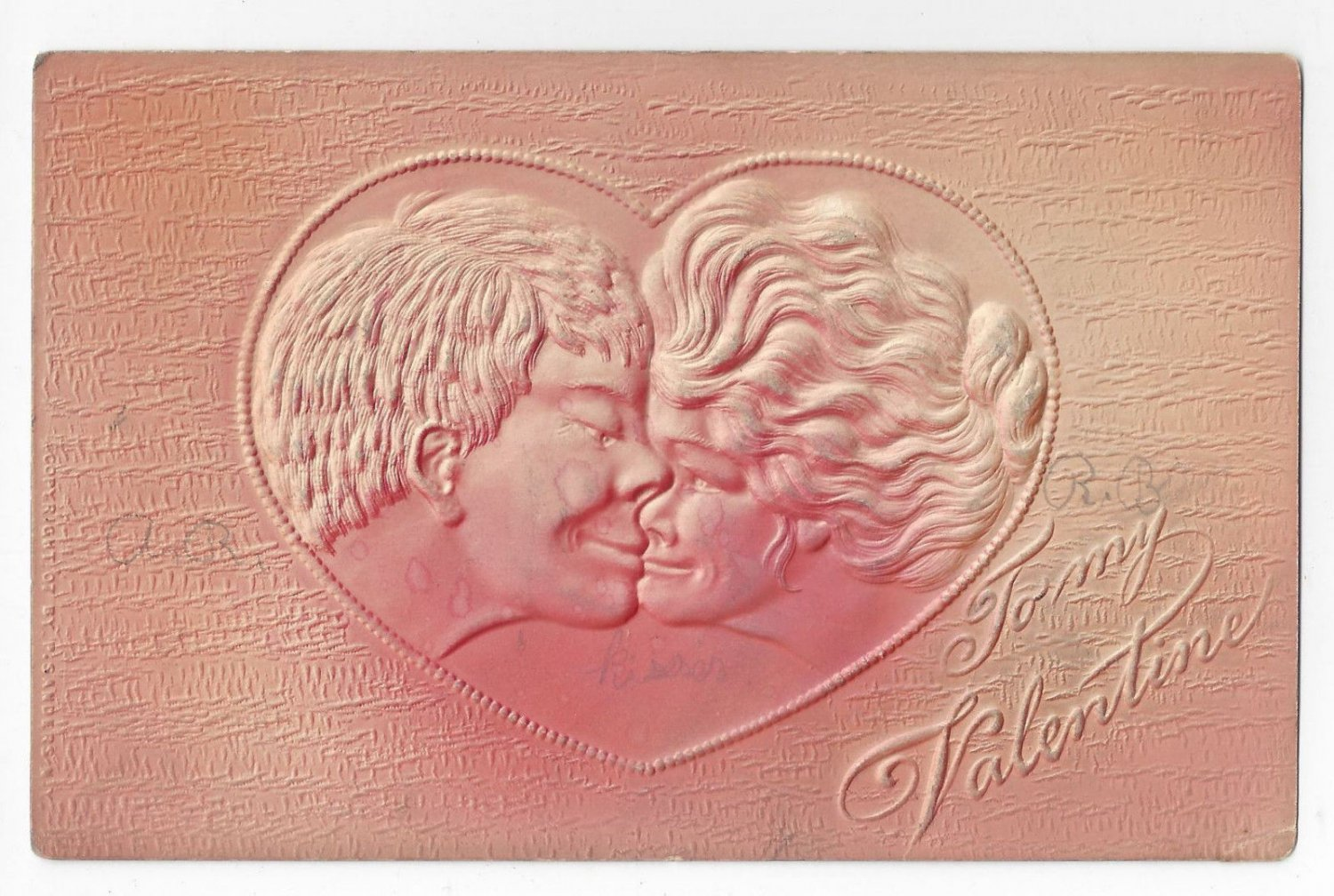 Valentine Postcard Couple Kissing Embossed Airbrushed Vintage Postcard