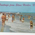 NJ Stone Harbor Greetings Beach Surf Bathers Swimmers Vintage Postcard