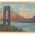 NY George Washington Bridge Hudson River New York City Vintage 1933 Linen Postcard