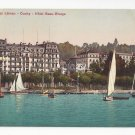 Switzerland Ouchy Lac Leman Hotel Beau Rivage Sailboats Postcard Vintage c 1910