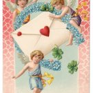 Valentine Postcard Cupid Cherub Forget Me Nots Horseshoe Envelope Embossed Vintage c 1910